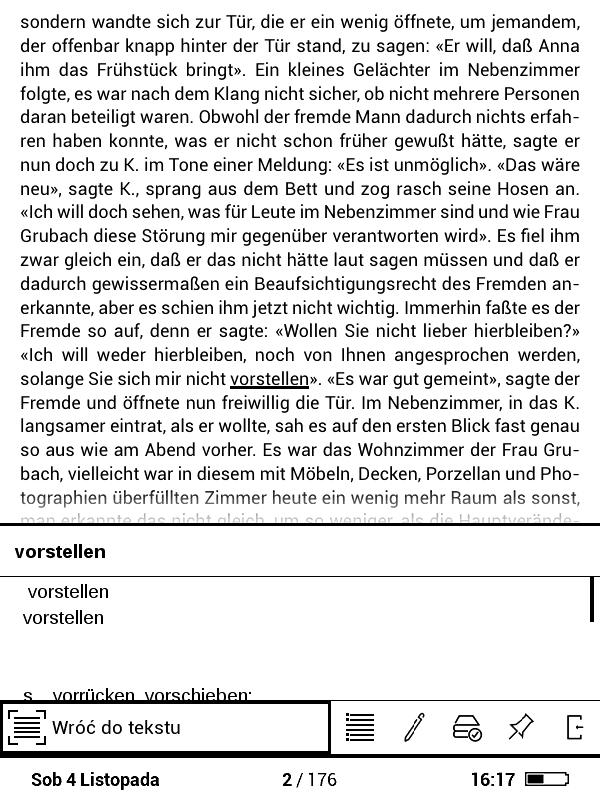 zrzut ekran z PocketBook Basic 3 z widokiem słownika działającego wewnątrz e-booka
