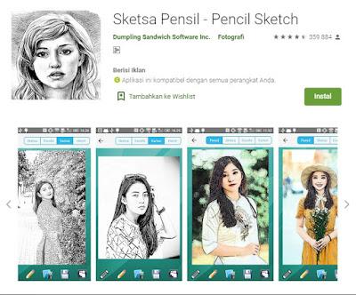 aplikasi sketsa wajah hitam putih dan kartun untuk android