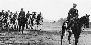 Major Dobrzański na czele 2. Pułku Strzelców Konnych - 1935