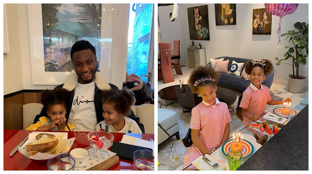 You are strong, brave and full of confidence- Nigerian Footballer, Mike Obi celebrates his Twin daughters as they clock 6yrs old today (Photos)