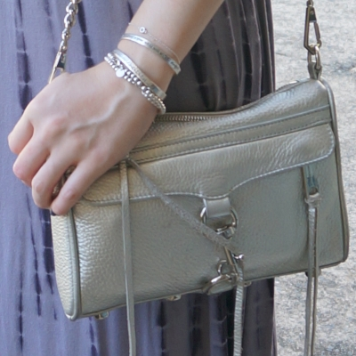 silver bracelet stack and Rebecca Minkoff metallic mini MAC Bag | away from the blue