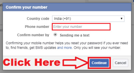 how to add my mobile number in facebook