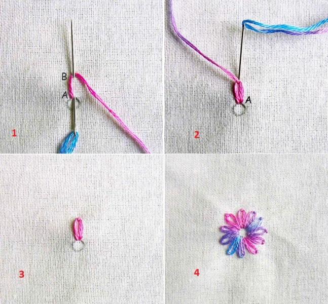Thêu bông hoa đơn giản bằng mũi lazy daisy