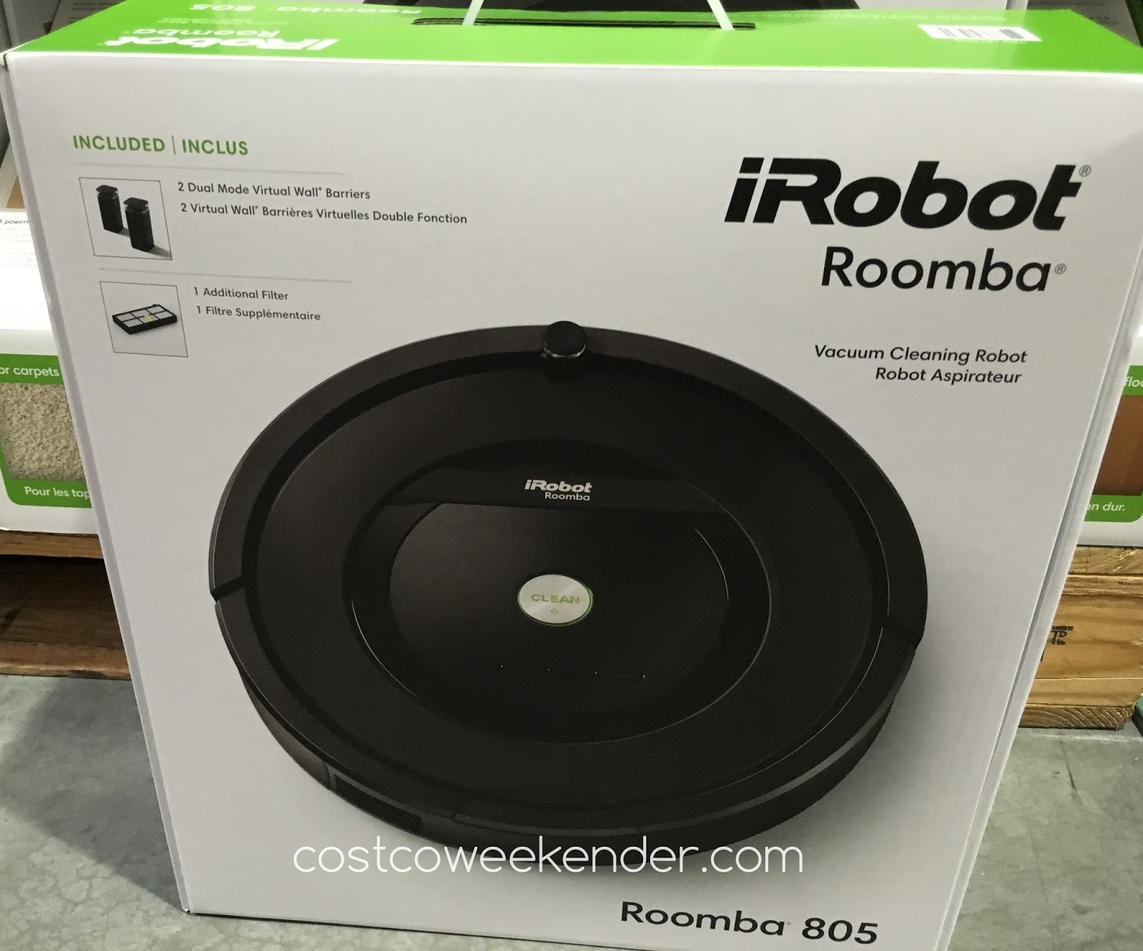 irobot roomba 805 vacuum cleaning robot costco weekender