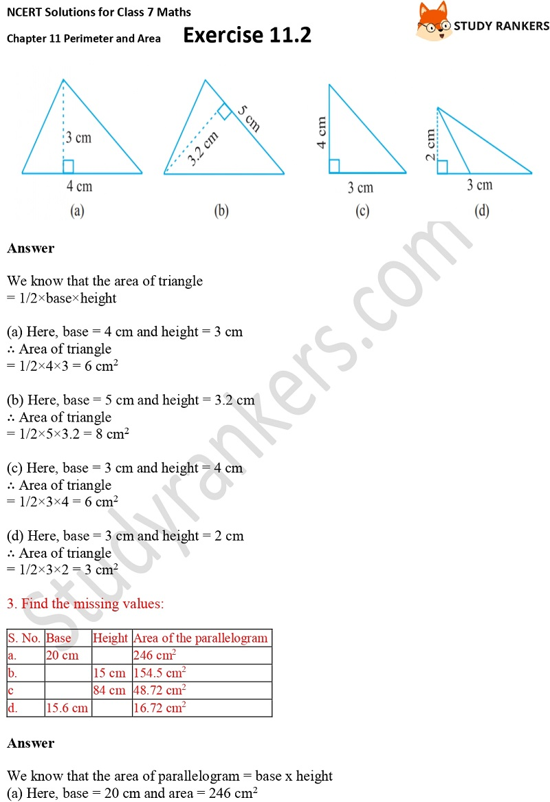 NCERT Solutions for Class 7 Maths Ch 11 Perimeter and Area Exercise 11.2 2