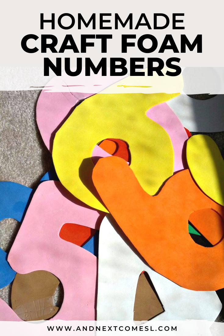 Your kids will love these homemade craft foam numbers! Find out how to make large foam numbers (or letters) that can be used for the bath, for math activities, and so much more!
