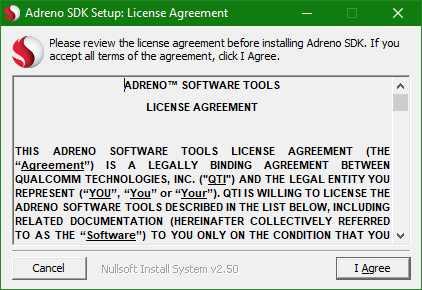 The installer program showing a completely separate license agreement from the previous one.