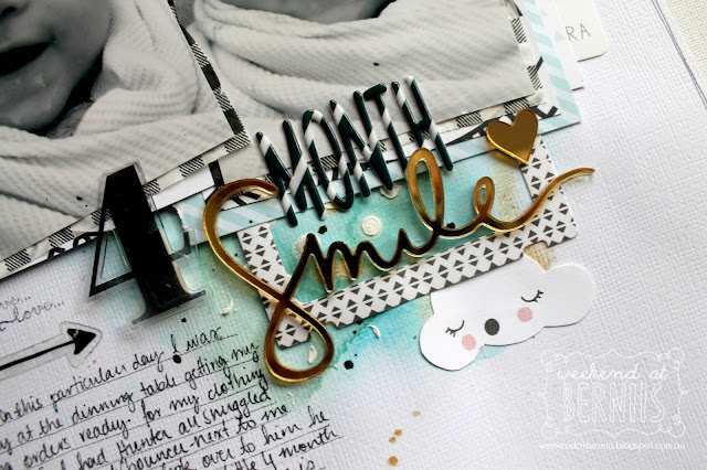 """4 month smile"" layout for Sugar Maple Paper Co using the It's raining men kit."