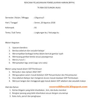 contoh RPPH PAUD 2018-2019