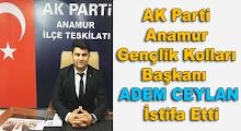 AK Parti Anamur Gençlik Kolları Başkanı  Ceylan İstifa Etti