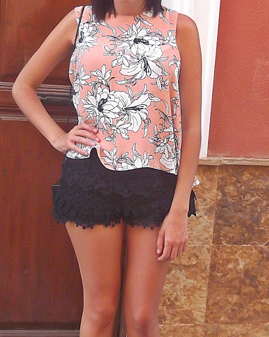 Floral Print Top and Crochet Shorts