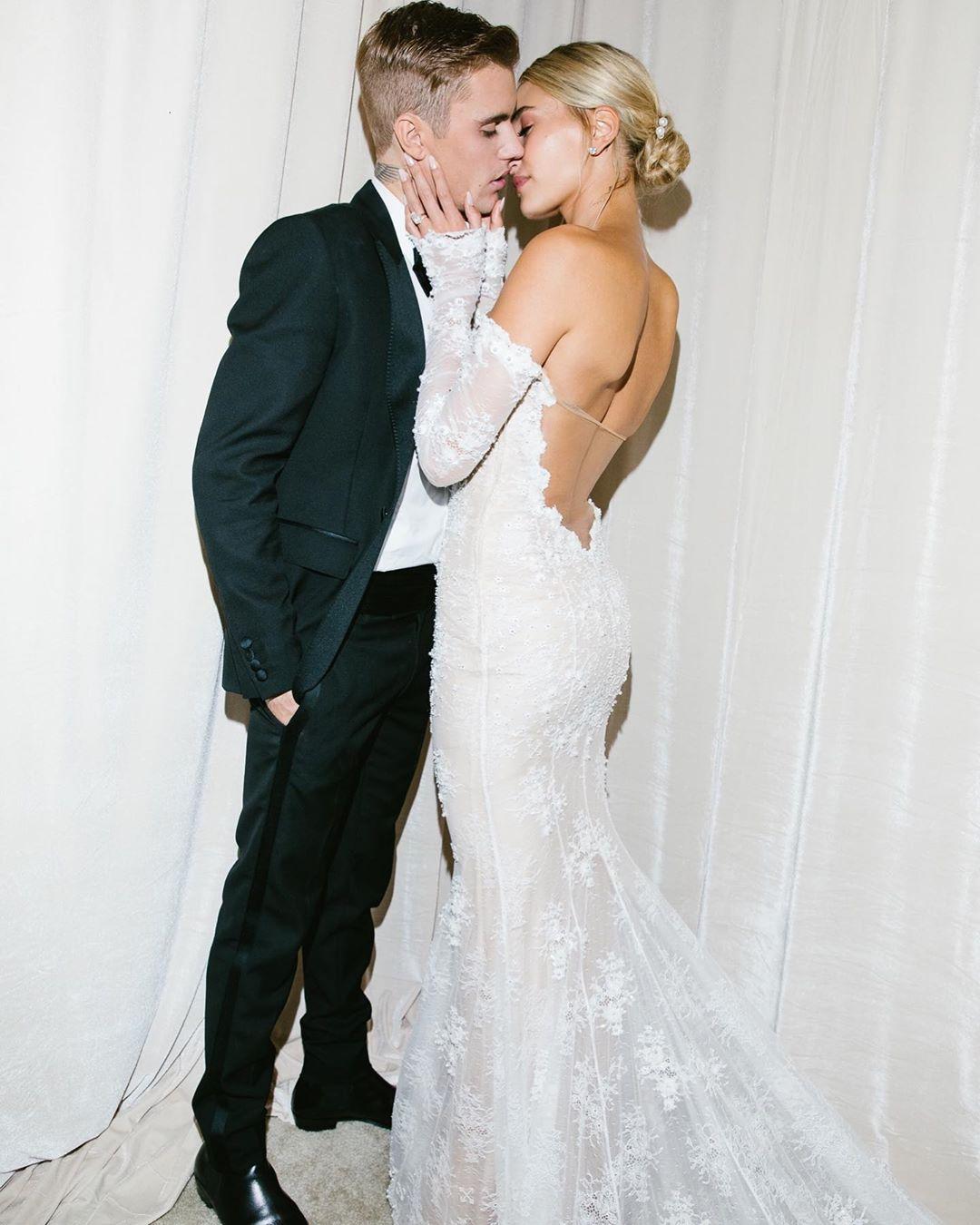 Hailey Bieber Unveils Pearl Encrusted Dreamy Wedding Gown