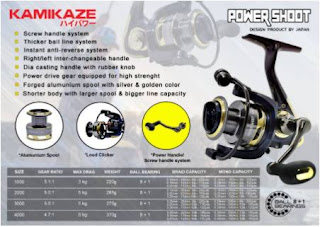 spesifikasi Reel Kamikaze Power Shoot