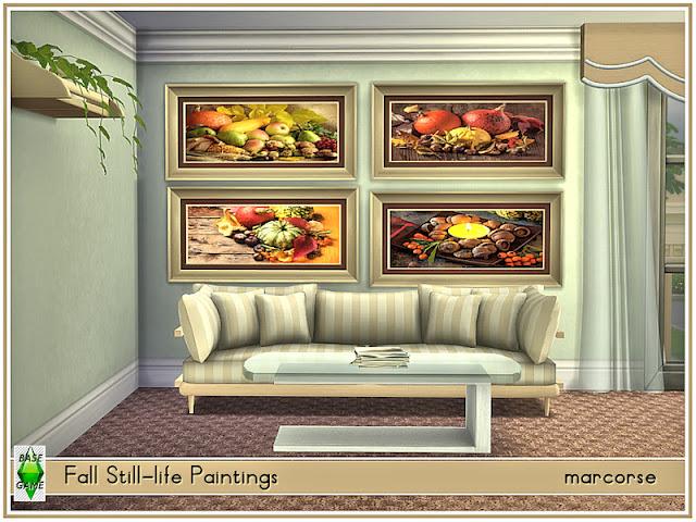Fall Still-Life Paintings_marcorse Осенний натюрморт для The Sims 4 4 натюрморта с изображением плодов осени. Одинаковые рамки, чтобы сделать микс / матч простым. Найдено в картинах. Стоимость: 22. Создано в базовой игре для всех. Пользовательские миниатюры. Предварительный просмотр скриншотов, сделанных игровой камерой, в живой игре. Автор: marcorse