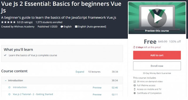 [100% Off] Vue Js 2 Essential: Basics for beginners Vue Js| Worth 49,99$