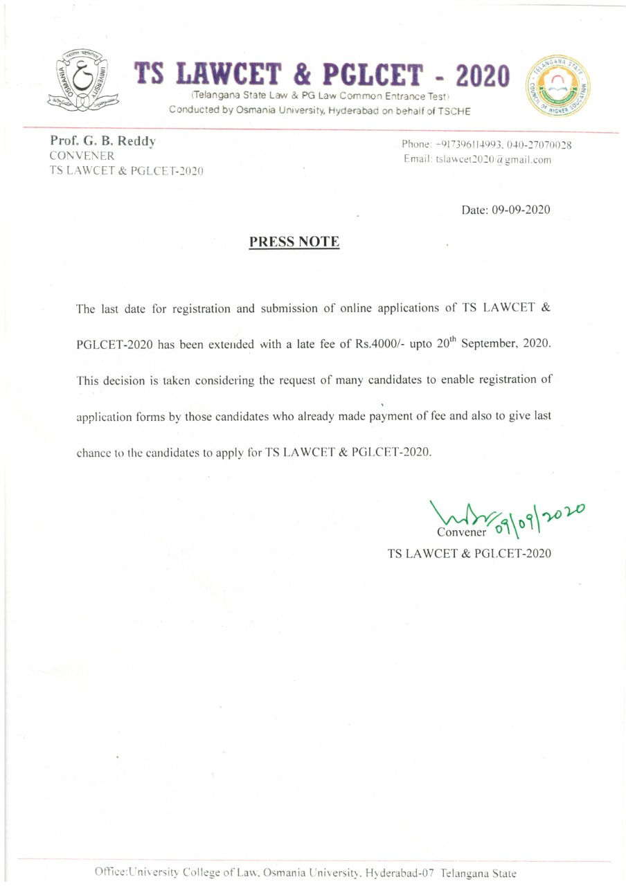 TS LAWCET / TS PGLCET-2020 Registration & Submission of Online Last Date Applications with Late Fee