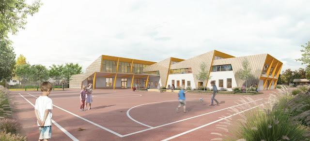 Perspective 3D de la cours de l'école pour le concours