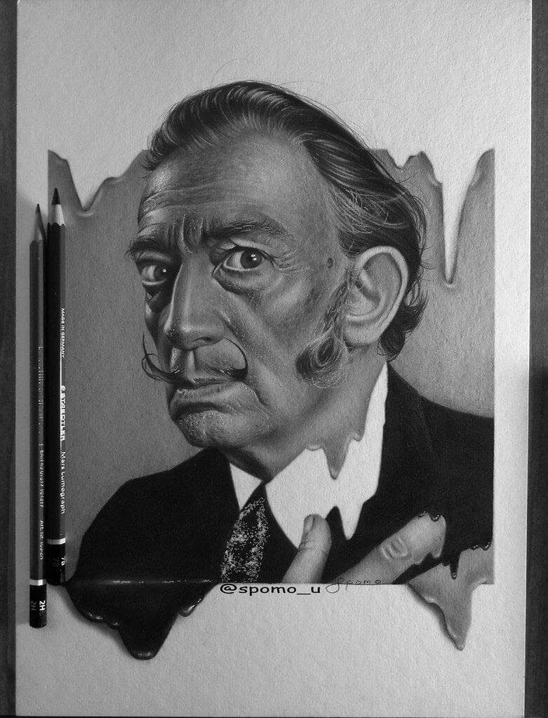02-Melting-Salvador-Dali-Spomo-Ubiparipović-Black-and-White-Celebrity-Pencil-Portraits