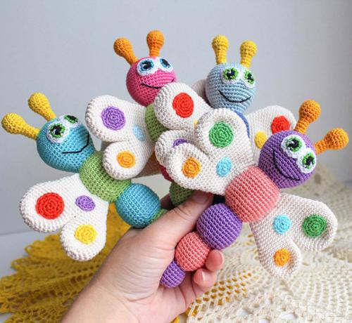 Amigurumi Butterfly Baby Rattle - Free Pattern