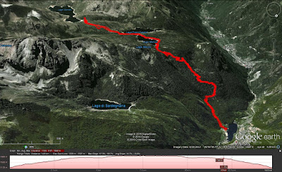 Hike Route from Carona to Laghi Gemelli