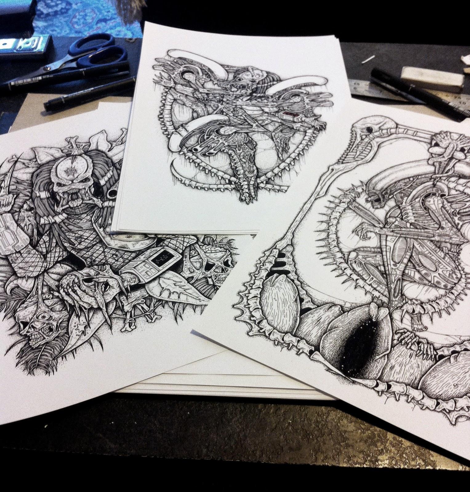 Alex Yates ILLUSTRATIONS: Alien And Predator Prints