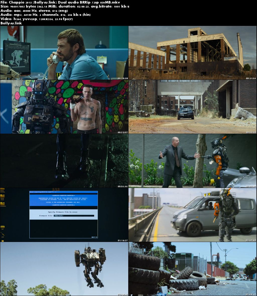 Chappie 2015 BRRip 850MB Hindi Dual Audio 720p Download