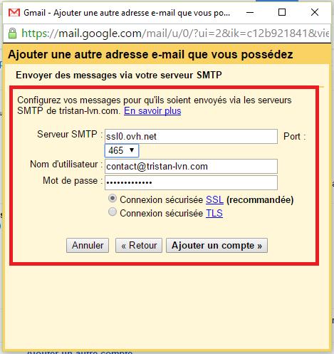 Envoyer des messages depuis le serveur SMTP de notre nouvelle adresse sur Gmail