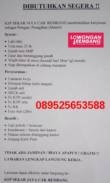 Lowongan Kerja Karyawan KSP Sekar Jaya Cabang Rembang