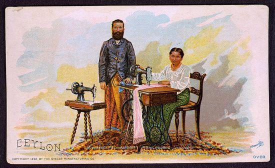 Singer sewing machines ad card 1892 - Ceylon