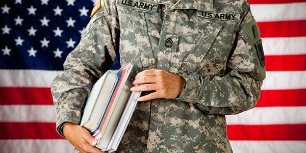 Army man holding books