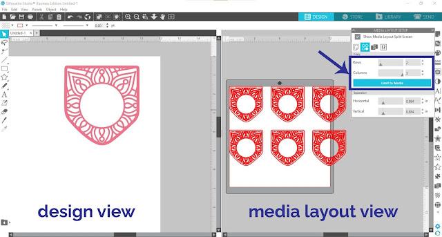 matrix copy tool, business edition, silhouette studio business edition, page setup panel, media view