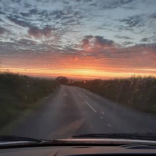 Orange and grey sunset sky