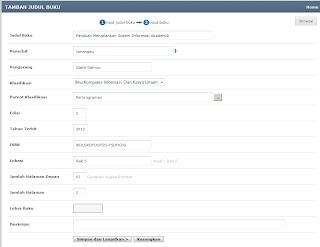 Form tambah judul-judul buku perpustakaan - Sesuai dengan Dewey Decimal Clasification