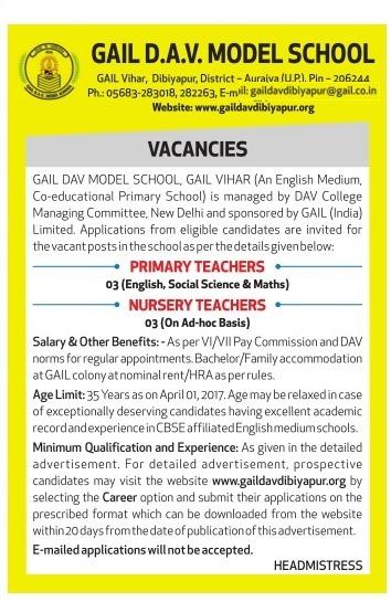 GAIL DAV Model School Dibiyapur Recruitment 2017