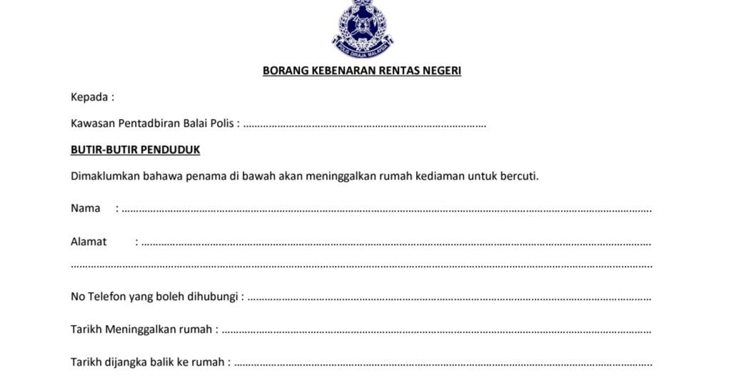 Borang Permit Rentas Negeri PKPB