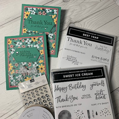 Handmade floral greeting cards using Stampin' Up! Flower & Field Designer Series Paper
