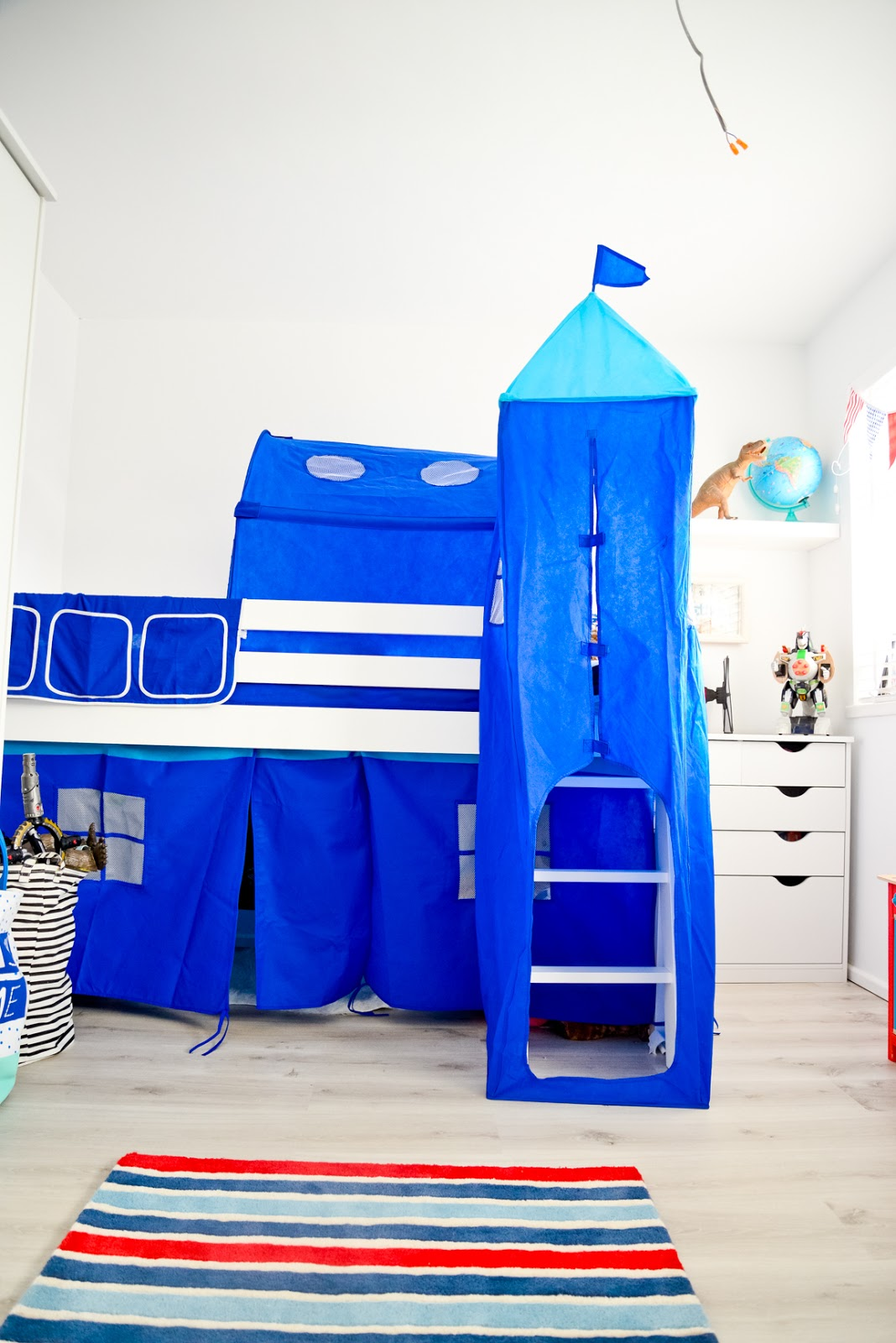 Finished Boys Bedroom Makeover Ethans Blue White And Red Big Boy Room Alex Gladwin