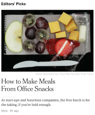 Front-paged at the NYT: How to eat lunch at your  luxurious  company.