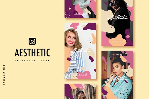 Free Download Aesthetic shape Instagram Story Template - PSD File