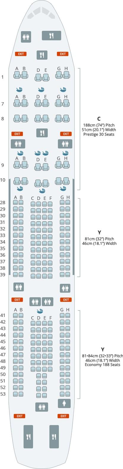 대한항공 A330-200 기내 좌석도