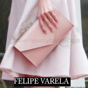 Queen Letizia carried Felipe Varela clutch bag