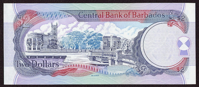 Barbados money currency 2 Dollars 1998