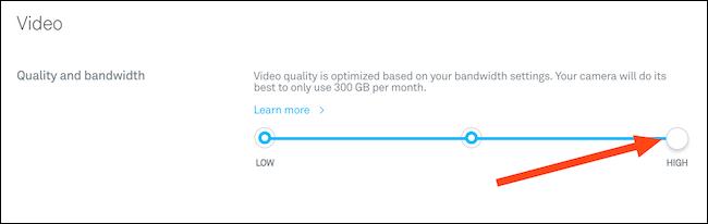 قم بتغيير جودة الفيديو باستخدام شريط التمرير