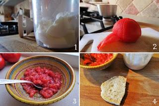 foto preparazione ricetta pomodoro e mozzarella per bambini