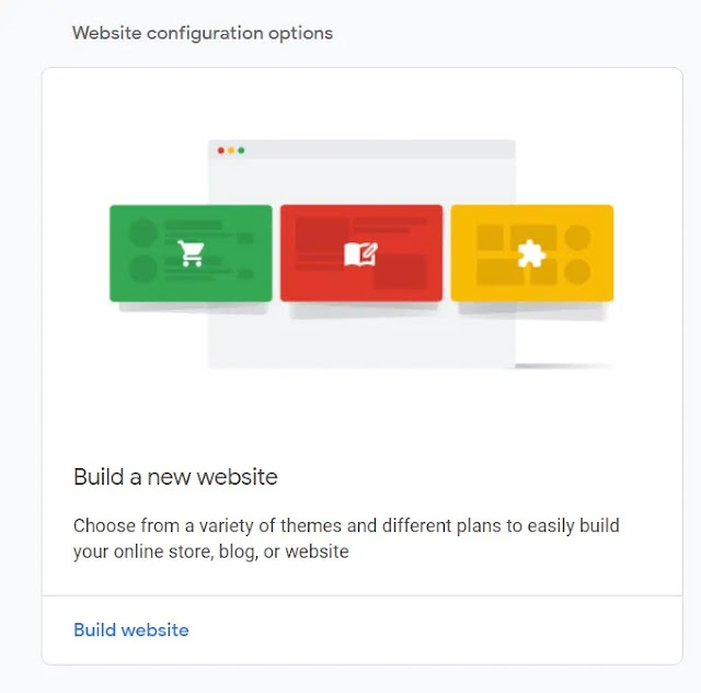 image for build a new website in Google Domain