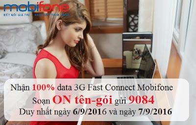 Mobifone khuyến mãi 100% data 3G ngày 6/9 - 7/9