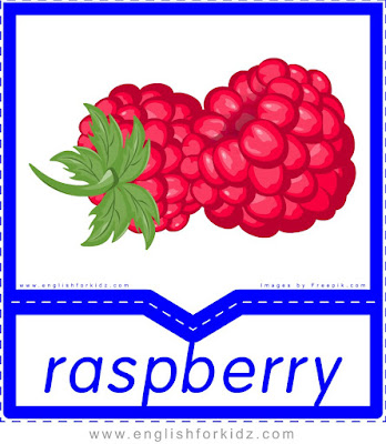 Raspberry - English flashcards for the fruits, vegetables and berries topic