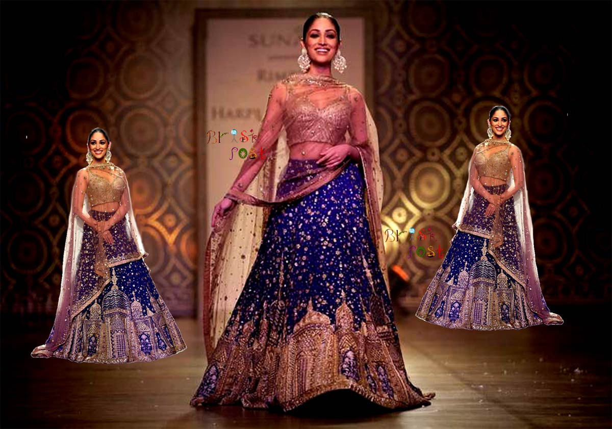 Smiling Yami Gautam in traditional lehenga, designed by Rimple and Harpreet Narula for Hiraeth - a collection for India Couture Week 2016