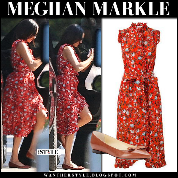 Meghan Markle in red floral print sleeveless erdem sebla dress and brown ballet flats sarah flint natalie toronto october 3 street fashion