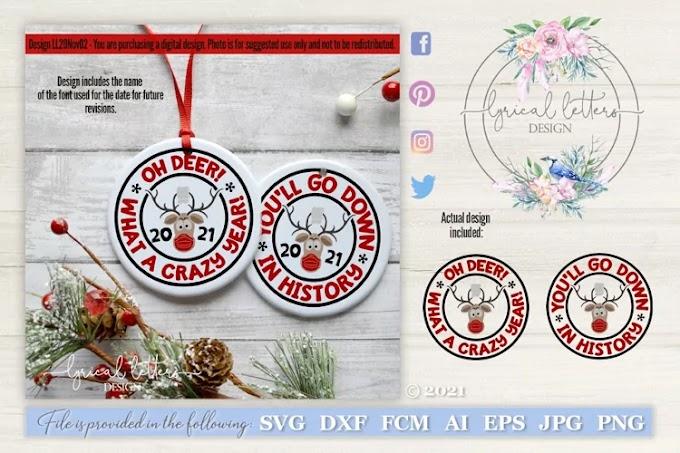 Reindeer 2021 Christmas Ornament SVG Cut File LL20Nov02